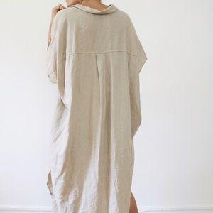 Beige oversized linen shirt dress